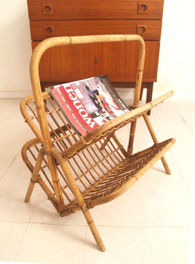 Rohe noordwolde jaren 60 retro rotan lectuurmand vintage for Jaren 60 meubelen