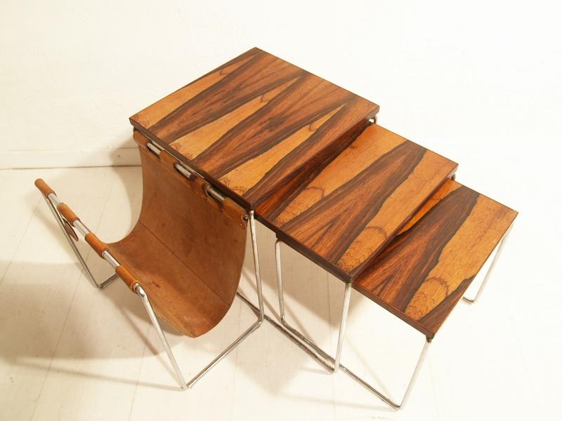 Brabantia jaren 60 bijzettafeltjes nesting tables for Jaren 60 meubelen