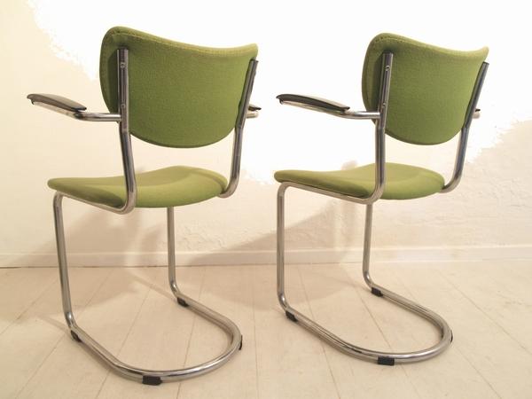 De wit buisframe zwevende stoel eetkamerstoel jaren vintage