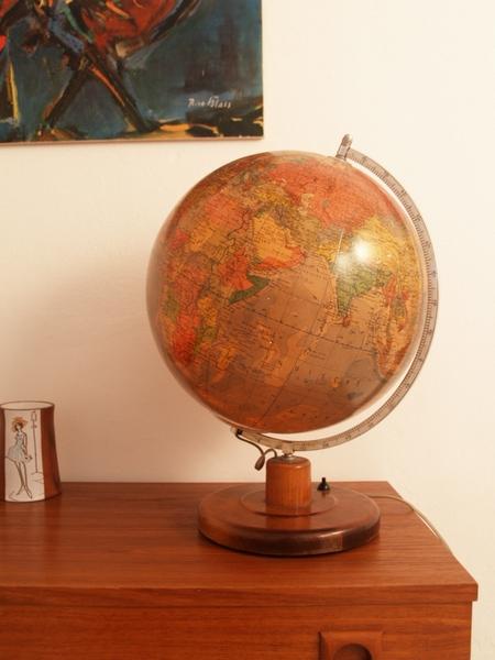 Jaren 50 wereldbol globe met verlichting - Vintage Living Shop