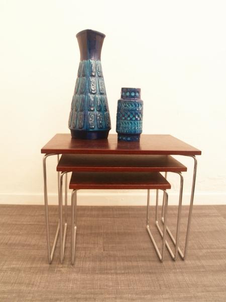 3 Vintage Bijzettafeltjes.Jaren 60 Bijzettafeltjes Sixties Nesting Tables Vintage Living Shop